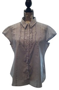 Faded Glory Ruffle-front Cap Sleeve Cotton Summer Empire Gray White Xl 16 18 Plus Plus-size Top Striped
