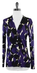 Tory Burch Purple White Black Wool Cardigan