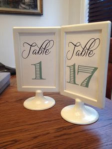 Ivory with Navy & Mint Text Framed Table Numbers - 1 - 17 Included Tableware