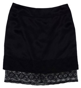 Chanel Black Silk Lace Mini Mini Skirt