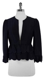 Nanette Lepore Navy Satin Scalloped Jacket
