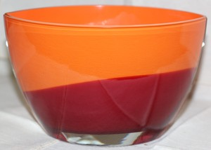 "Waterford Red and Amber Evolution 8"" Oval Bowl Fine Handmade Glassware Decoration"