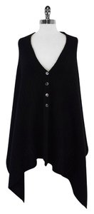 Saks Fifth Avenue Black Cable Knit Wool Cape