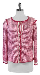 Escada Pink White Knit Cardigan