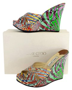 Jimmy Choo Multi Color Phyllis Leather Wedges