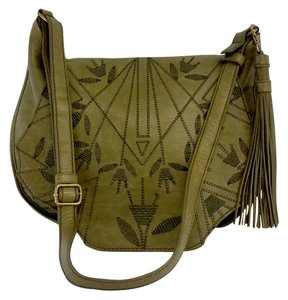 Isabella Fiore Olive Green Leather Messenger Bag
