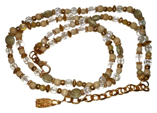 Item - Gold Tan & Clear Vintage Beaded Double Chain Belt