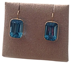 Bold Blue Topaz Emerald Cut Earrings