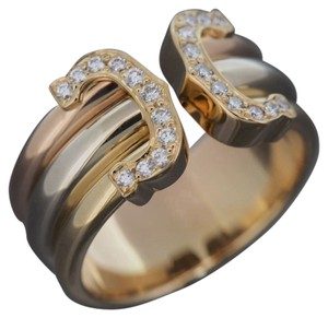 Cartier 18K Tri-Color Gold '2C' Ring with DIAMONDS and Certificate. SIZE 52.