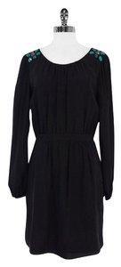 Shoshanna short dress Black Silk Beaded Long Sleeve on Tradesy
