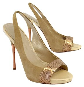 Jean-Michel Cazabat Tan Rose Gold Slingbacks Sandals
