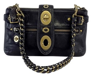 Coach Black Leather Buckle Design Hobo Bag