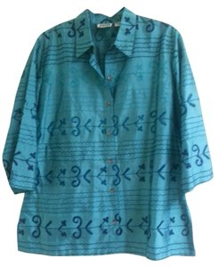 Chico's Tunic Coat Big Shirt Silk Top Teal