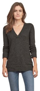 Abercrombie & Fitch Basic Gray Dark Marled Wool Vneck Sweater