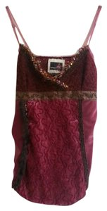 Buffalo David Bitton Velvet Silk Embroidered Fur Top Burgundy