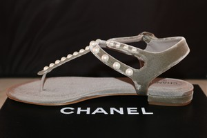 Chanel Velvet Logo Leather Flat Gray Sandals