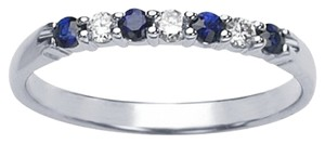 14K White Gold Band Ring with Sapphires and Diamonds
