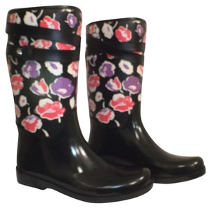 Coach Rubbers New/nwt Floral Black White Red Purple (multi) Boots