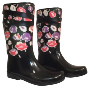 Coach Rubbers Floral Rain New Designer Black Multi Boots