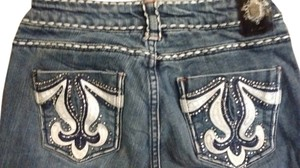 Cello Jeans Embroidered Rhinestones Boot Cut Jeans-Light Wash