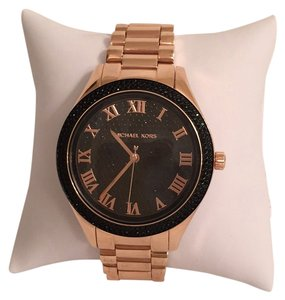 Michael Kors NEW! Rosegold W/Black Crystal Bling Face