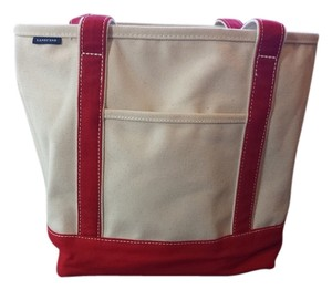 Lands' End Cotton Canvas Tote in Natural and Red