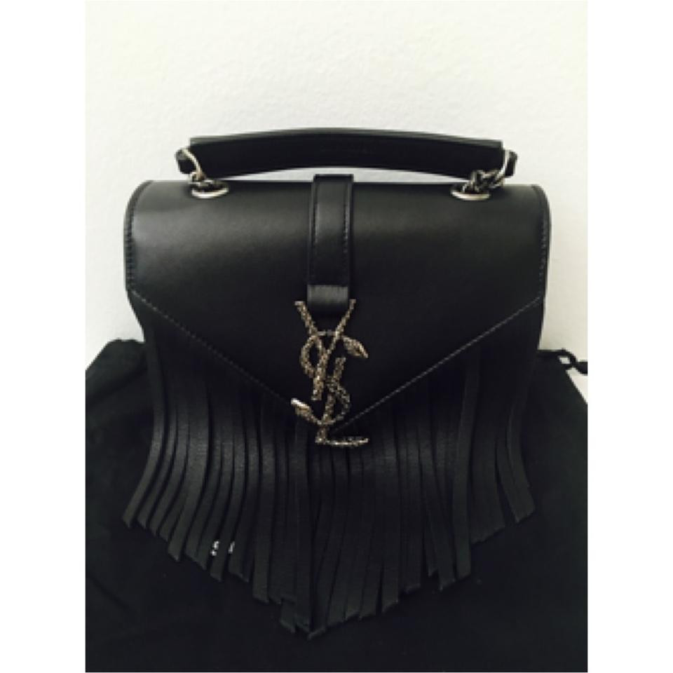 3b1faf2552f Saint Laurent Ysl Monogram Baby Serpent Fringed Chain Black Leather ...