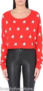 Wildfox Couture Starlight Cropped Billy In Hot Lipstick Sweater