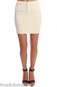 Mother Jeans High Waist Mini In Warm Destroyed Denim 25 Mini Skirt Ivory