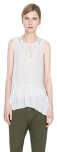 Zara Sheer Chiffon Lace Trim Top Ivory