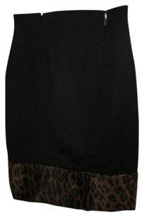 Fendi Wool Vintage Faux Fur Skirt Black