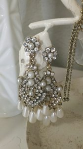 Antique-gold Ornate Fancy Chandelier Earrings With Rhinestones And Teardrop Pearls