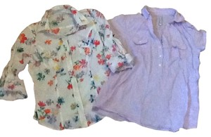 Old Navy Button Down Shirt Purple, floral