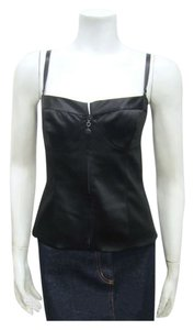 St John Marie Fitted Bodice Bustier Spaghetti Top Gray