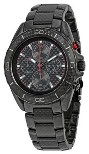 Michael Kors Black Carbon Fiber Chronograph Designer Sports Mens Watch