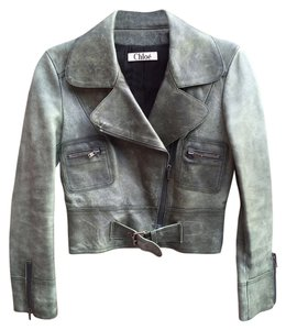 Chloé Chloe Olive Lambskin Leather Pleated Swing Cropped Motorcycle Jacket