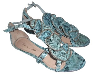 Pour La Victoire Snakeskin Leather Turqouise Strappy Blue Sandals
