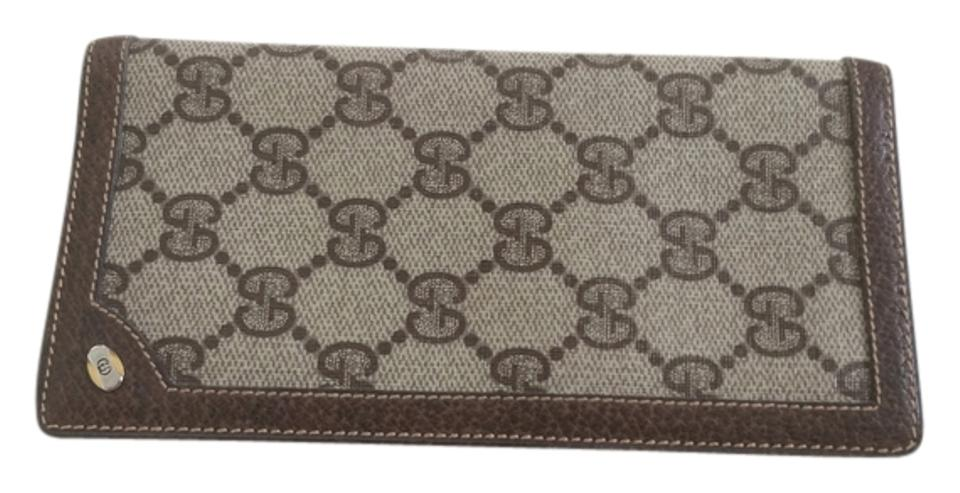00c2d45c645727 Gucci Brown Leather Checkbook Cover Wallet - Tradesy