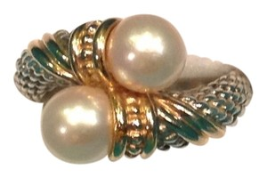 VAHAN Sterling Silver and 14k Gold Pearl Bypass Ring
