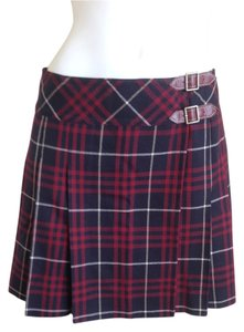 Burberry Brit London Label Prorsum Mini Skirt Blue and Maroon