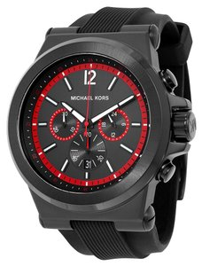 Michael Kors Black and Red Accented Dial Rubber Strap Sport Casual Designer Mens Watch