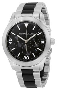 Michael Kors Black and Silver tone Stainless Steel Casual Sport Mens Watch