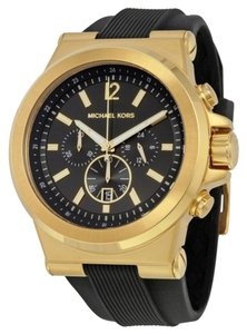 Michael Kors Black and Gold tone with Black Rubber Strap Casual Sport Designer Mens Watch