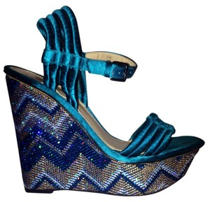 Enzo Angiolini Missoni Teal Satin Sparkly Multi Wedges