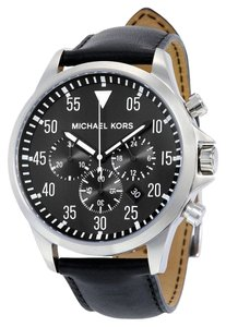 Michael Kors Silver toen with Black Dial and Black Leather Strap Designer Dress Mens Watch
