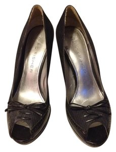 Marc Fisher Peeptoe Faux Leather Black & Blue pinstripes Platforms