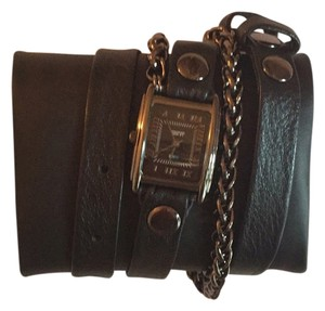 La Mer Collections La mer collection Black Leather Wrap Watch