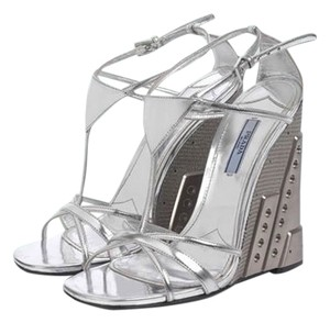 Prada Molded Chrome Sandal Industrial SILVER Wedges