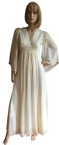 off-white Maxi Dress by Other Vintage 70's Lace Festival Boho 60's