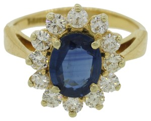 18k Solid Yellow Gold 1.5ct Sapphire & 1.00ct Diamond Engagement Ring